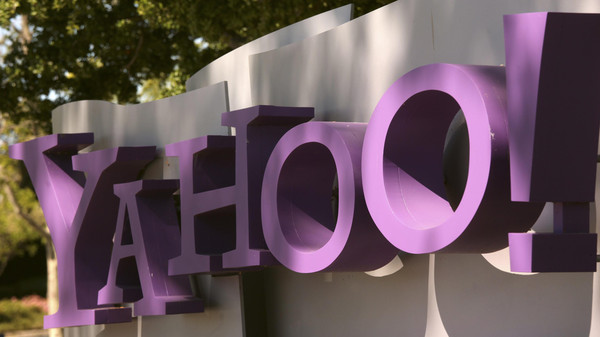 File picture of the Yahoo logo at the company's headquarters in Sunnyvale, California