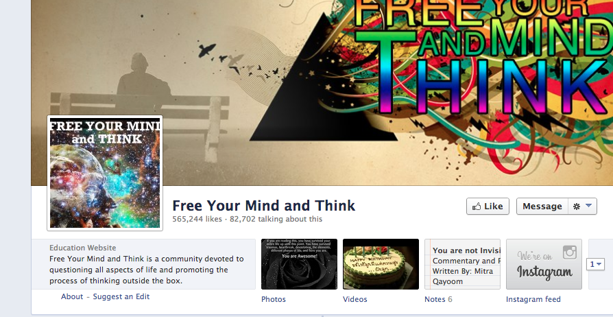 Free Your Mind and Think Facebook Page