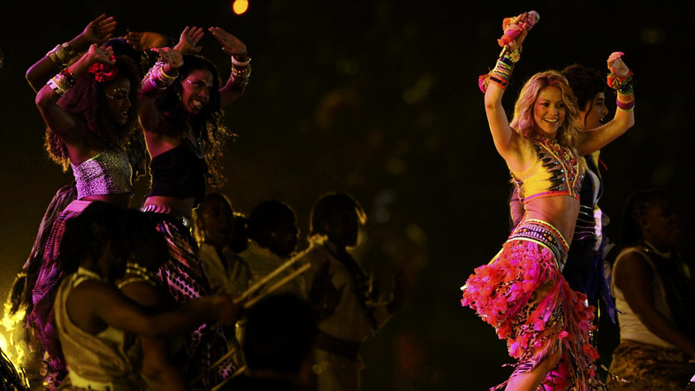 Colombian singer Shakira performs during the closing ceremony for the 2010 World Cup at Soccer City stadium in Johannesburg